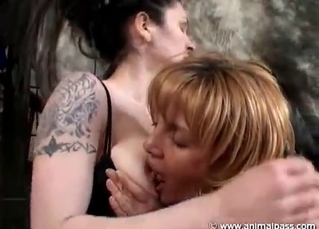 Two girls eat pussy before fucking animals
