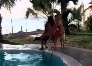 Zoophilic sex action by the pool