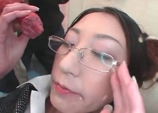Asian girl gets fucked in her wide opened mouth